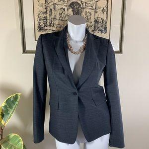 Elie Tahari Gray Blazer W/ Unique Pleated Collar